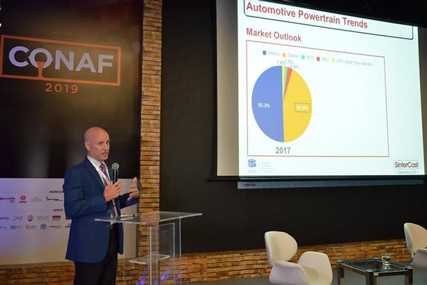 Steve Dawson, presidente e CEO da SinterCast, na palestra magna do CONAF 2019.